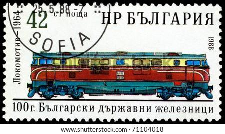 BULGARIA - CIRCA 1988: A Stamp printed in the  Bulgaria  shows  antique  locomotive - 1964, series, circa 1988 - stock photo