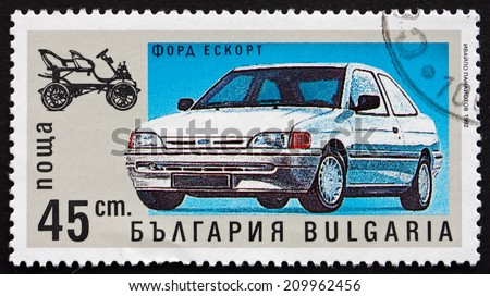 BULGARIA - CIRCA 1992: a stamp printed in the Bulgaria shows Ford Escort, Automobile, circa 1992 - stock photo