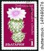 BULGARIA - CIRCA 1970: post stamp printed in Bulgaria shows image of tephrocactus alexanderi V. Bruchii from cacti series, Scott catalog 1851 A745 1s green pink purple white, circa 1970 - stock photo