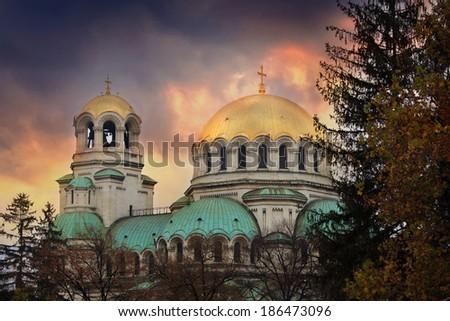 Bulgarian capital Sofia HDR scenic sunset over old Aleksander Nevski orthodox church  - stock photo