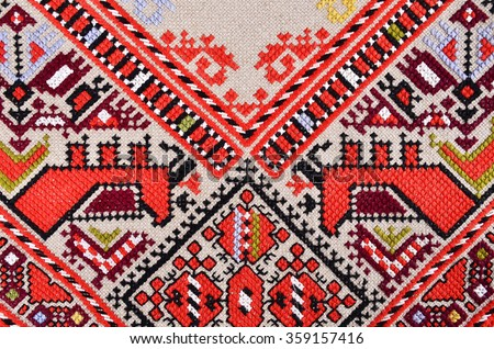 Bulgarian hand embroidery texture in old style with cotton thread
