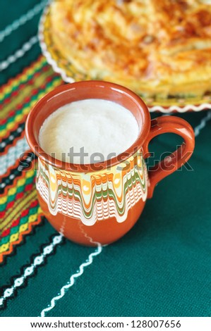 Bulgarian yogurt and banitsa - stock photo