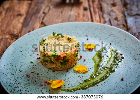Bulgur with vegetables, healthy, diet tasty dish - stock photo