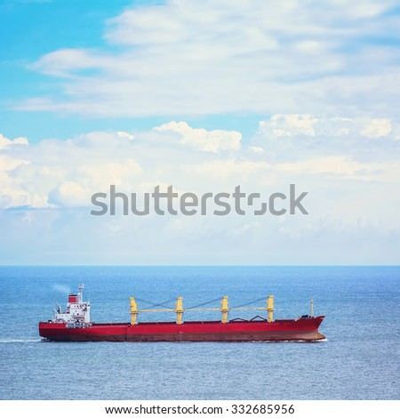Bulk Carrier Ship in the Black Sea - stock photo
