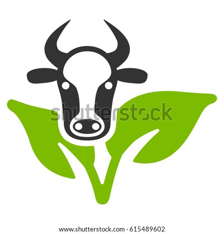 Bull And Plant raster icon. Flat bicolor eco green and gray symbol. Pictogram is isolated on a white background. Designed for web and software interfaces.