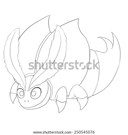 Bull Bug Line Art - Creature Design - stock photo