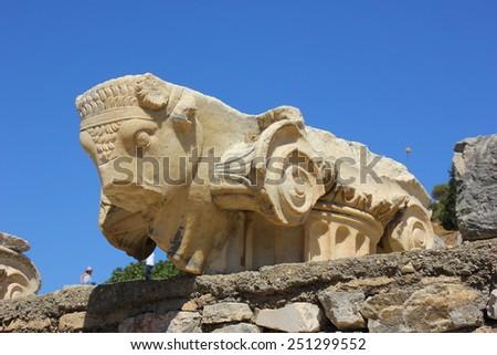 Bull column sculpture at Ephesus, Turkey - stock photo