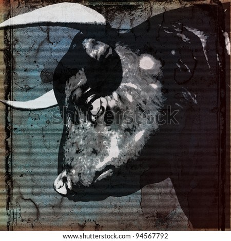 Bull Head Background - stock photo