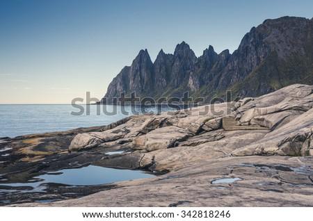 Bull Horns range in Senja, Norway - stock photo
