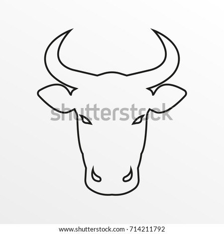 Bull icon. Cow or bull head with horns outline symbol.