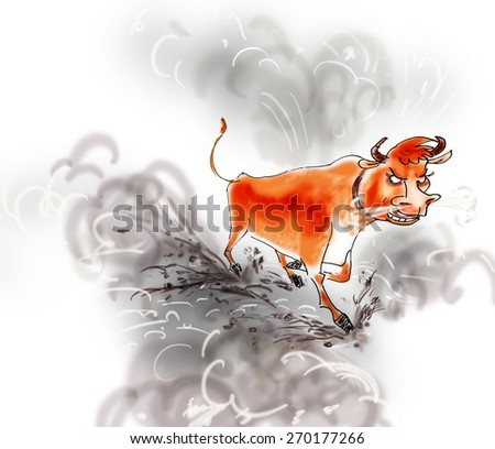 bull is running in a cloud of dust in the style of the sketch - stock photo
