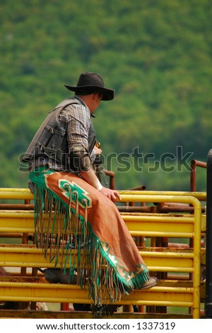 Bull Rider sitting on bucking chute - stock photo
