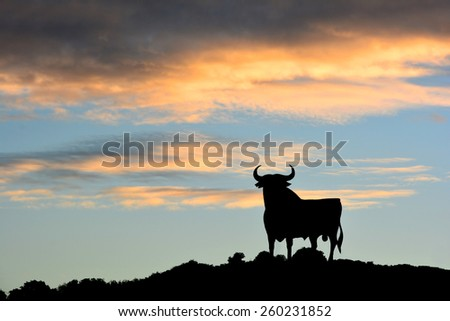 Bull sign in Spain - stock photo