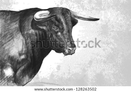 Bull tattoo illustration over rusty texture - stock photo
