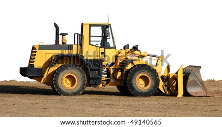 Bulldozer and dirt, isolated on white with path