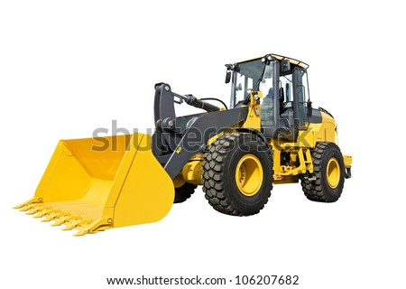 bulldozer isolated on white - stock photo