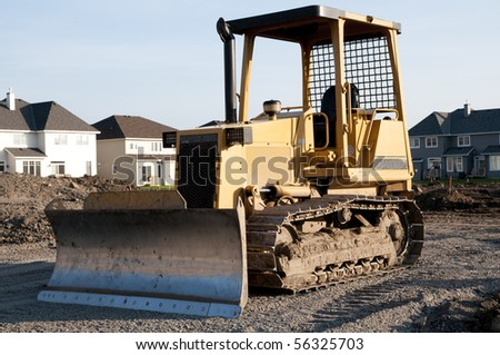 bulldozer on new home construction site