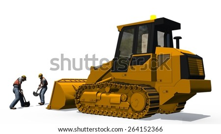 bulldozers, construction worker isolated on white background - stock photo