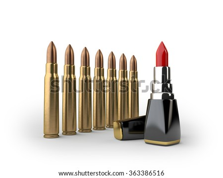 bullet and lipstick - stock photo