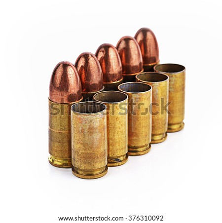 Bullet, bullet casings isolated on white background - stock photo