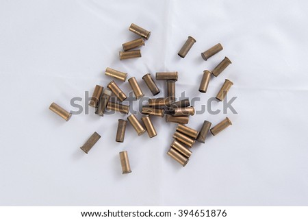 Bullet casings on the white background - stock photo