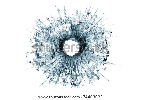 bullet hole in glass - authentic gunshot - closeup isolated on white - stock photo
