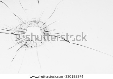Bullet Hole in glass isolated on white background.