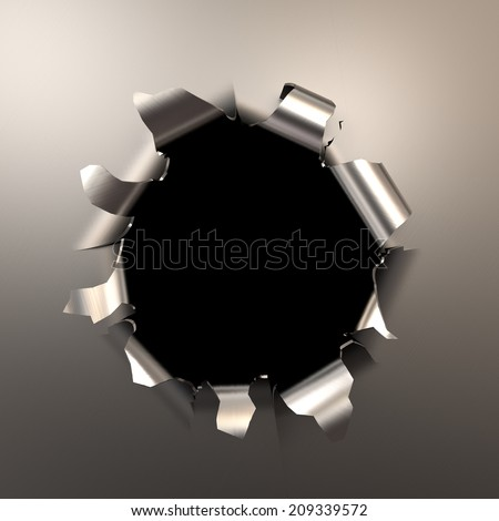 bullet hole in the metal, 3d illustration with a workpath
