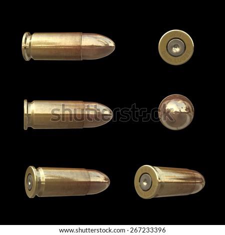 Bullet set isolated on black background