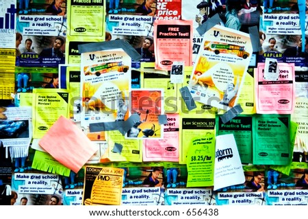 Bulletin board out of doors on university campus - stock photo