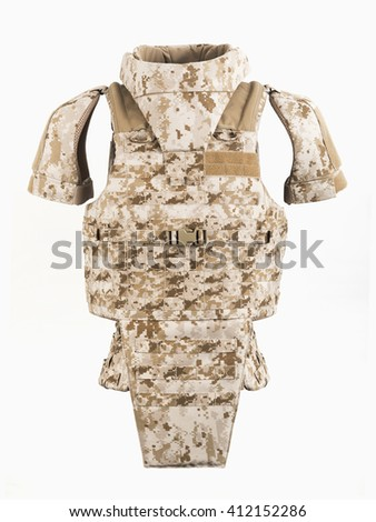 Bulletproof vest and waist belt, body armor covers, Camouflage - stock photo