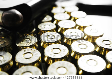 Bullets .45 ACP With Magazine Stock Photo High Quality