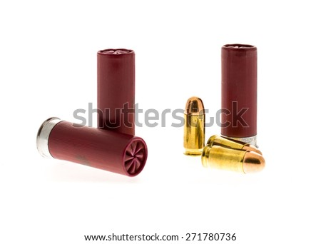 Bullets and shot gun shells. - stock photo