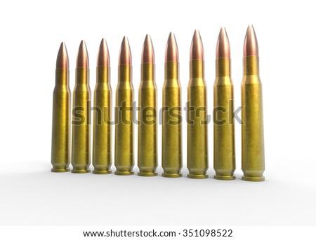Bullets Angle Shot - stock photo