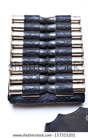 bullets for .38 revolver handgun isolated on white background. - stock photo
