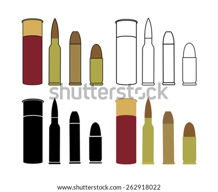 Bullets game set. Shotgun, rifle, pistol. Color, contour lines, black, no outline. Raster clip art icons isolated on white - stock photo