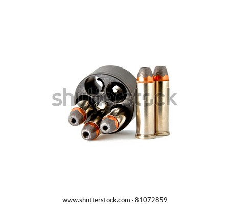 Bullets in speed loader for revolver hand gun