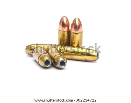 BULLETS 9 MM ISOLATED IN WHITE BACKGROUND