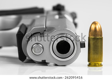 Bullets with the gun - stock photo