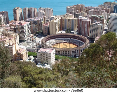Bullfight ring in Malaga - stock photo