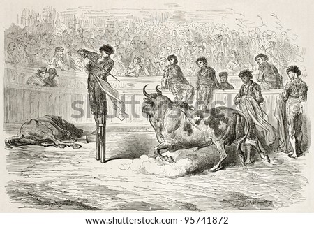 Bullfighter on stilts killing bull. Created by Gustave Dore, published on Le Tour Du Monde, Paris, 1867 - stock photo