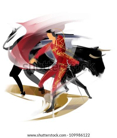 Bullfighting - stock photo