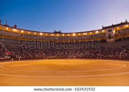 Bullfighting arena - corrida at Madrid Spain - stock photo