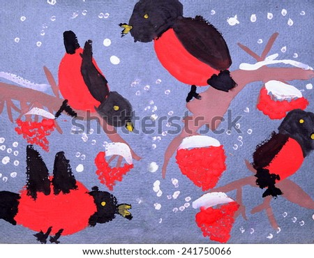 Bullfinches on Rowan, a child's drawing - stock photo