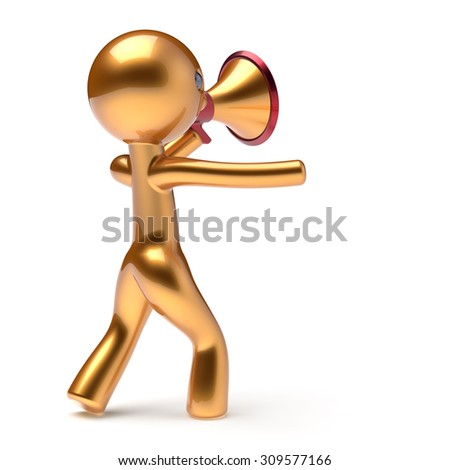 Bullhorn man golden character speaking megaphone making sale announcement news stylized human cartoon guy speaker person communication people shout figure icon concept 3d render isolated - stock photo