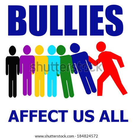 bullies affect us all illustration assorted colors on white - stock photo