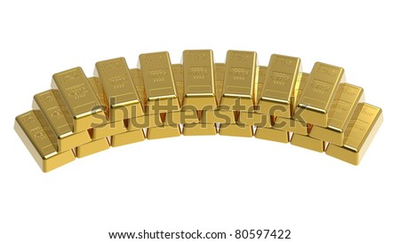 bullion isolated on white 3d render - stock photo