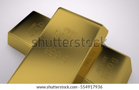 Bullion Sterling Gold, Pure Gold, Wealth, 3D Render