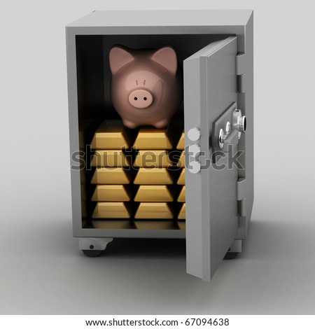 bullions and piggy bank in a security safe
