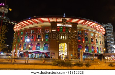Bullring Arenas on Spain Square. Of traditional neo-Mudejar style. New shopping center in Barcelona. Inside is a museum of rock and roll. Opened in June 1900. Barcelona, Catalonia, Spain. - stock photo